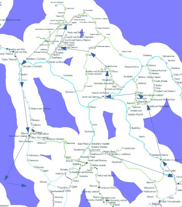 Kelet-Cseh kör útvonaltérkép