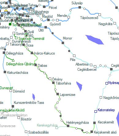 A Budapest-Lajosmizse-Kecskemét vasútvonal térképe, állomásai és megállóhelyei