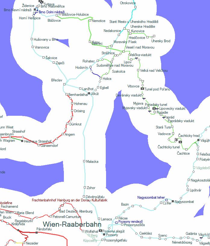A Mikulásvonat által érintett vonalak térképe