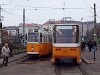 Az 1303-as és a 4001-es korszerűsített villamosok a Széll Kálmán téren