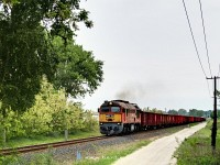 M62 232 between Szõny-Déli and Csémpuszta with a freight train