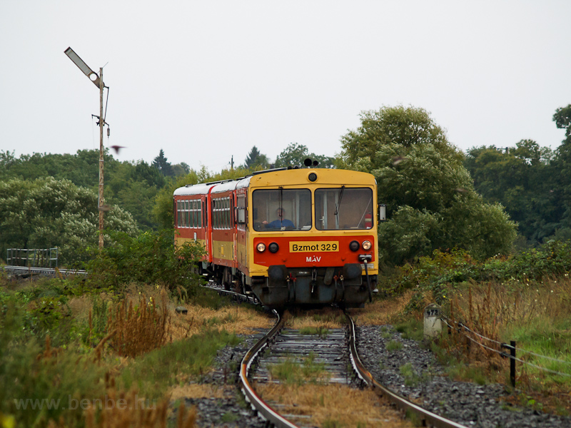 The MÁV Bzmot 329 seen betw photo