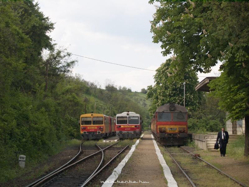 Bzmot 400, 320 és Btx 025 a zsúfolt Szilvásvárad megálló-rakodóhelyen fotó