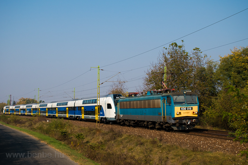 The MÁV-START 630 016 seen hauling the 815 003 Stadler KISS EMU between Monorierdő and Pilis photo