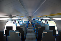 The interior of the MÁV-START 815 003 Stadler KISS bi-level commuter electric multiple unit