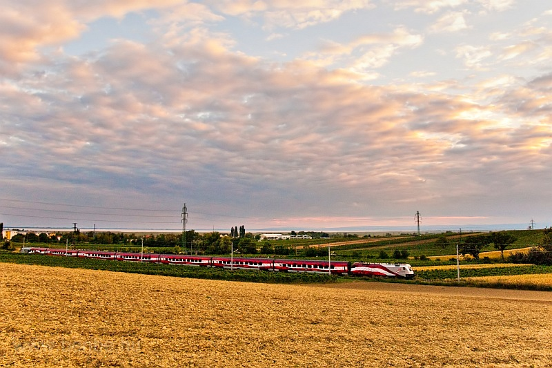 175 years of railway in Austria - the huge Austrian flag of a railjet headed by 1116 249 is returning from the Fertő-tó (Neusiedler See) to Vienna now seen between Nezsider (Neusiedl am See, Austria) and Parndorf Ort photo