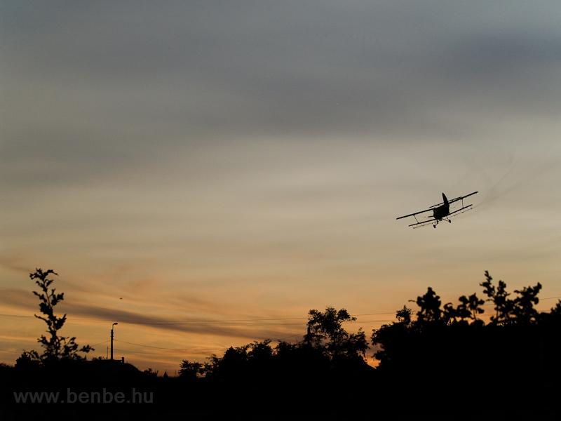 An An-2 aircraft dropping mosquito poison on Fertőrákos photo