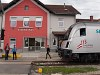 175 years of railway in Austria - celebrations in old Hungarian Kismarton (now Eisenstadt, Austria) with the huge Austrian flag of a railjet headed by 1116 249 (the driving trailer is 80-90.749)