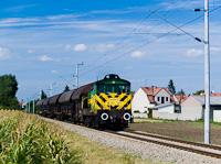 A GYSEV M44 307 tolatós tehervonatával Boldogasszony (Frauenkirchen, Ausztria) és Mosonszentandrás (St. Andrä am Zicksee, Ausztria) között