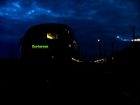 The M�V 6342 006-1 Desiro railcar is seen waiting for a train to pass it at �buda station at dawn