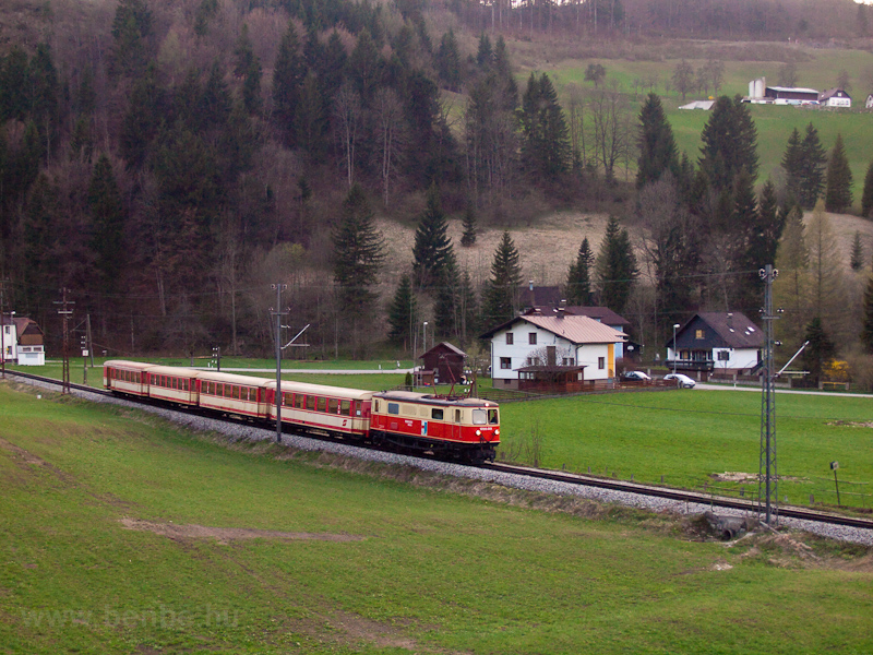 The NÖVOG 1099.001 is seen arriving from Mariazell to Laubenbachmühle with a full Jaffa livery passenger train photo