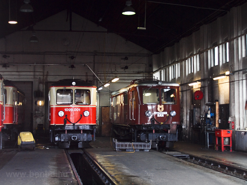 Mozdonyszín St. Pölten Alpenbahnhofon, bent a 1099.001 és a 1099 013 fotó