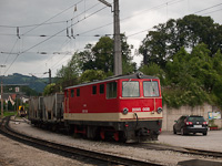 The NÖVOG 2095 008 is hauling a trackbed laying train at Kirchberg an der Pielach
