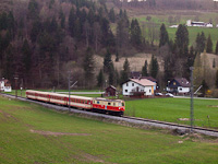 The NÖVOG 1099.001 is seen arriving from Mariazell to Laubenbachmühle with a full Jaffa livery passenger train