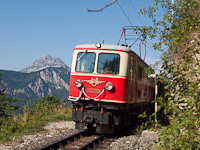 The BBÖ 1099.02 historic electric locomotive seen between Gösing and Annaberg with the Ötscher's peak in the background