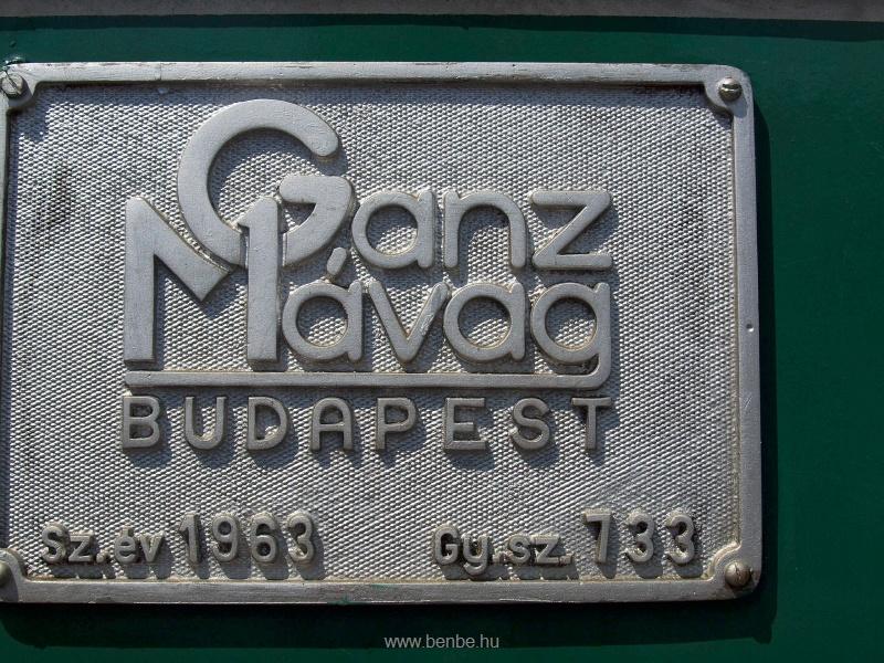 A 733-as BKV HÉV Bobó (hivatalosan DL XVI sorozat) gyári táblája fotó