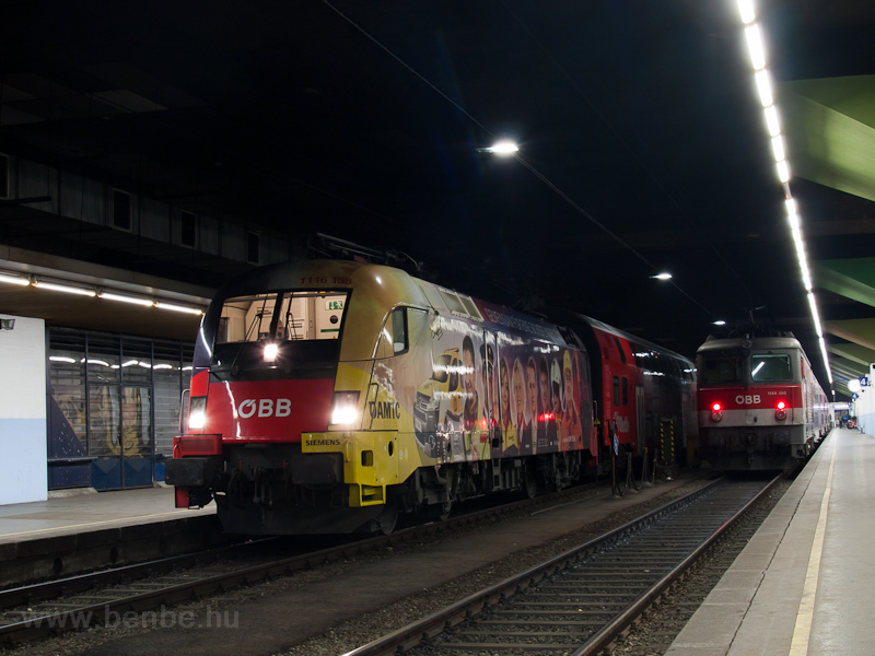 The ÖBB 1116 153 and the 1144 258 seen at Wien Franz-Josefs-Bahnhof photo