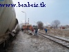 Freight cars await transport to the MV station at Ajka alumina factory. The red locmotive in the background is A26 065