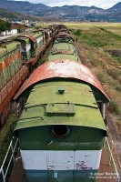 A line of T669 locomotives waiting either to be scrapped or reinstated into use at Prrenjas