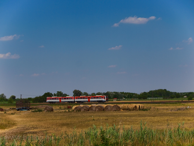 A class 6341 DMU seen between Kistőke and Szentes photo
