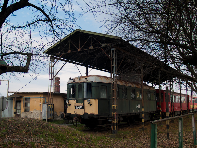 The track maintenance crew's railcar A-141 (class BCmot) seen at Vésztő photo