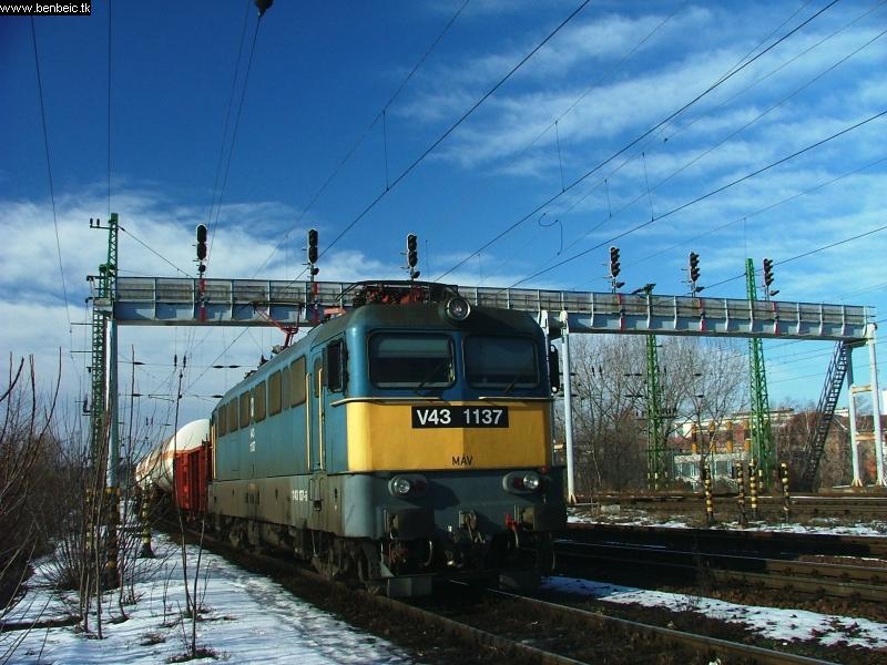 V43 1137 tehervonattal Ferencvárosban fotó
