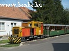 The narrow gauge diesel locomotive Mk48 2017 passing the village of Szokolya