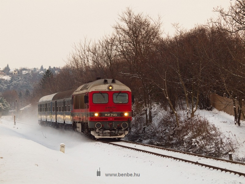 The M41 2143 with a slow train for Tapolca at Balatonkenese photo