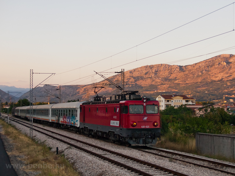 The Serbian Railways 461-021 is seen arriving at Podgorica with the Subotica-Bar night train photo