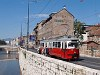 Sarajevo - type E1 tram bought from Vienna at the bank of the Miljacka river