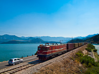 The MonteCargo 461-042 seen between Virpazar and Vranjina hauling a container train from the harbour of Bar across Lake Skadar