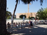 Low-tech public bike rental at Tirana