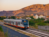 Again in Montenegro: the new CAF-mad EMU of ŽCG is seen arriving in Podgorica on the railway from Nikšič