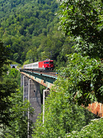 The Serbian Railways 461-021 is seen on the Tara-viadukt near Kolasín