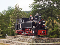 A typical Reşiţa locomotive exhibited near Mokra Gora
