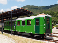 An ex-Ganz DMU rebuilt as a standard passenger carriage seen at Šargan-Vitasi station
