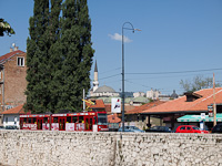 Sarajevo - tram at the bank of the Miljacka river