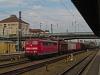 The DB AG 151 055-1 seen hauling a mixed-freight train at Regensburg Hauptbahnhof