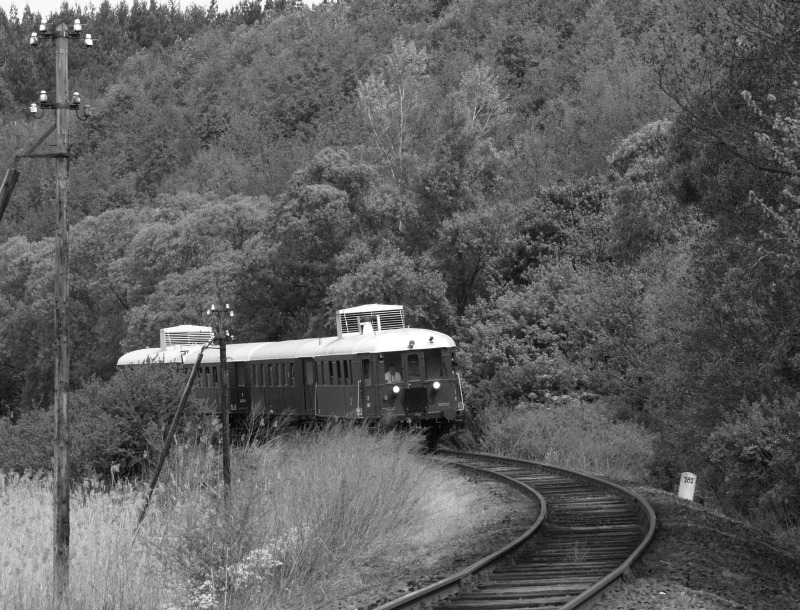 The historic BC mot DMU in a sharp curve before Berkenye photo