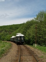 The historic BC mot DMU in the forest between Szokolya and Berkenye