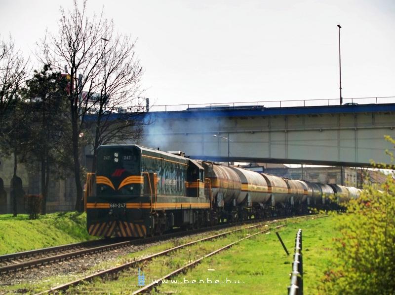661-247 a Száva-parton tartályvonattal fotó