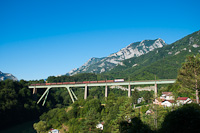 An unidentified ŽFBH 441  seen between Jablanica and Jablanica grad on the Gazela-viadukt