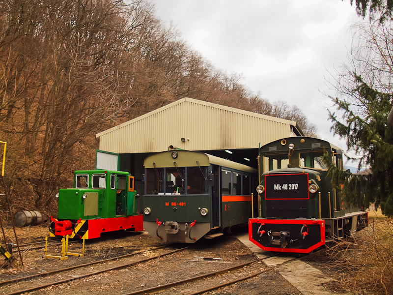 The C50 3756 of the Nagybörzsöny Forest Railway, the M06-401  Toby  and the Mk48 2017 of the Királyréti Erdei Vasút seen at Paphegy on the photo charter after it was refurbished at the Királyrét Forest Railway's workshop at Paphegy photo