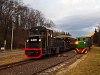 A Nagybörzsönyi Erdei Vasút C50 3756 pályaszámú kismozdonya és a Királyréti Erdei Vasút Mk48 2014-ese a Királyréti Erdei Vasúton a paphegyi felújítása alkalmából rendezett fotósvonaton Morgón