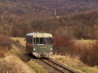 """A Királyréti Erdei Vasút M06-401 pályaszámú """"Tóbi"""" motorkocsija Szokolya-Riezner és Paphegy között"""