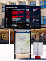 Hradec Kralové - the destination board also shows the trains that depart