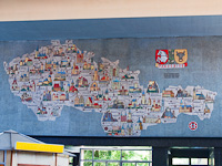 The tourist attractions of old Czechoslovakia seen in the passenger hall of Pardubice railway station