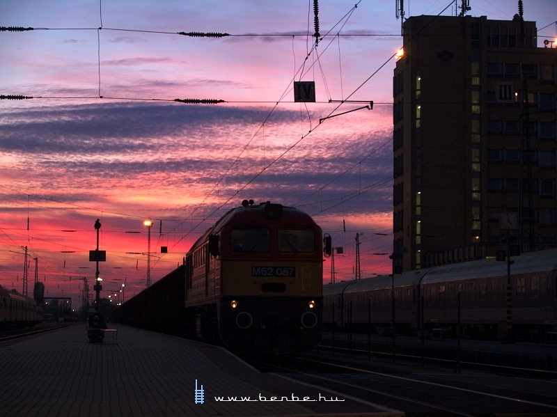 The M62 057 waiting at Pécs station with a 2040 tons train photo