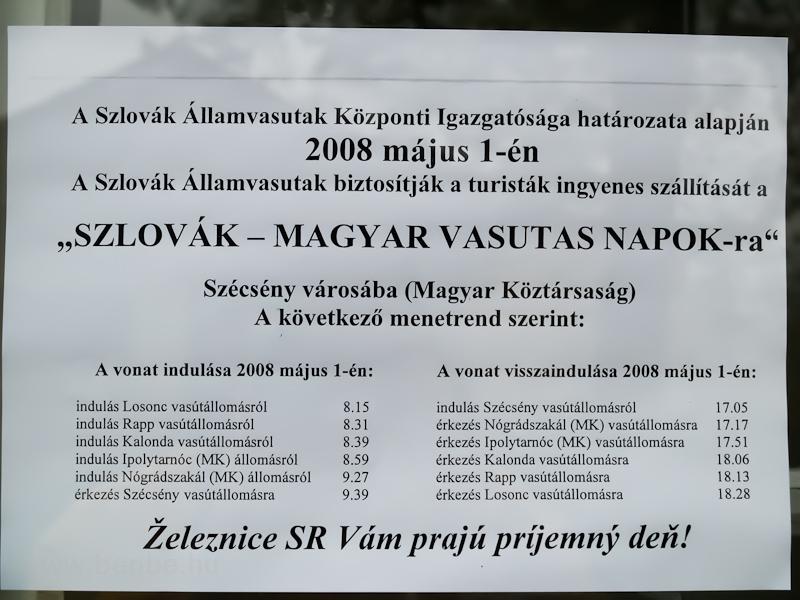 A Szlovák-magyar Vasutasnap menetrendjei fotó