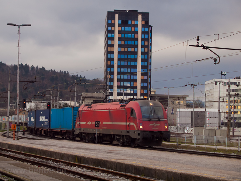 The ŠZ 541 013 is seen hauling a freight train from Koper at Ljubljana photo